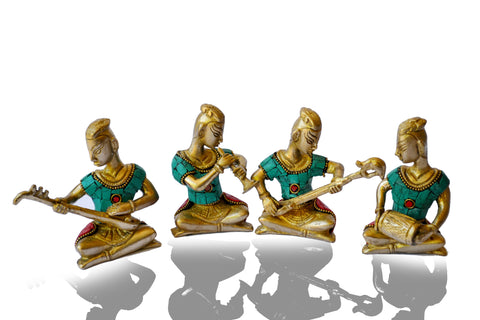 Metal-Sculpture-Tribal-Music-Band-Brass-Art Set of 4 - My Aashis