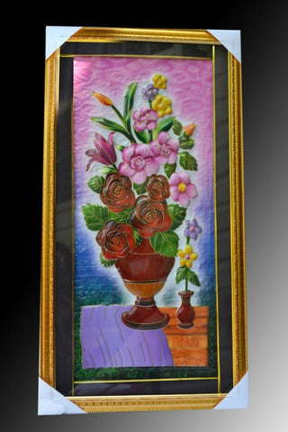 Handmade Colorful Framed Painting in Fiber 3D Wall-Art – Auspicious Home Décor - My Aashis