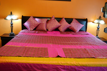 Polysilk and brocade bed sheet with 5 cushion Cover and 2 Runner