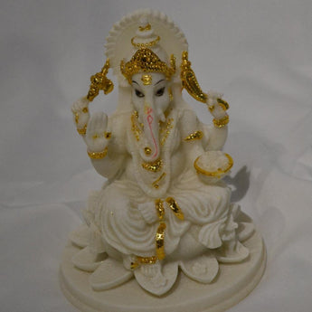 Blessing White Ganesha Beautiful Statues Hindu Good Luck God - My Aashis