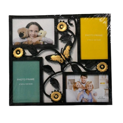 4 Openings Black Iron Photo Frame with Flower and Butterfly Decoration Picture Collage with Antique Finish
