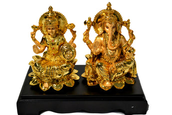 Hindu God Lakshmi Ganesh Metal Figurine Idol Set Statue Gift for Home Diwali Festival Indian Festival/Décor/ Pooja/Wedding/ Anniversary/House Warming
