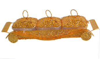 Compartment Style Snacks Metal Gold Tray Fruit Box With Cover - My Aashis