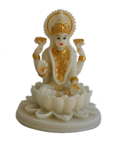 Lakshmi Beautiful Statues Hindu Good Luck God (Blessing White Lakshmi)