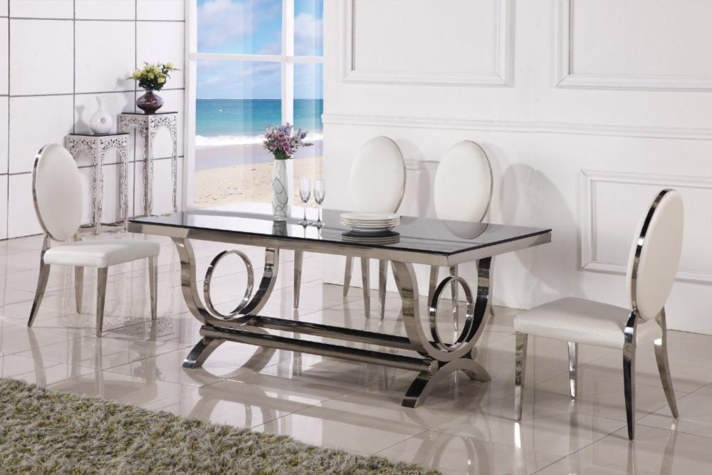 Picture of: Royal Glass Luxury Dining With Extra Soft Chair Seat My Aashis