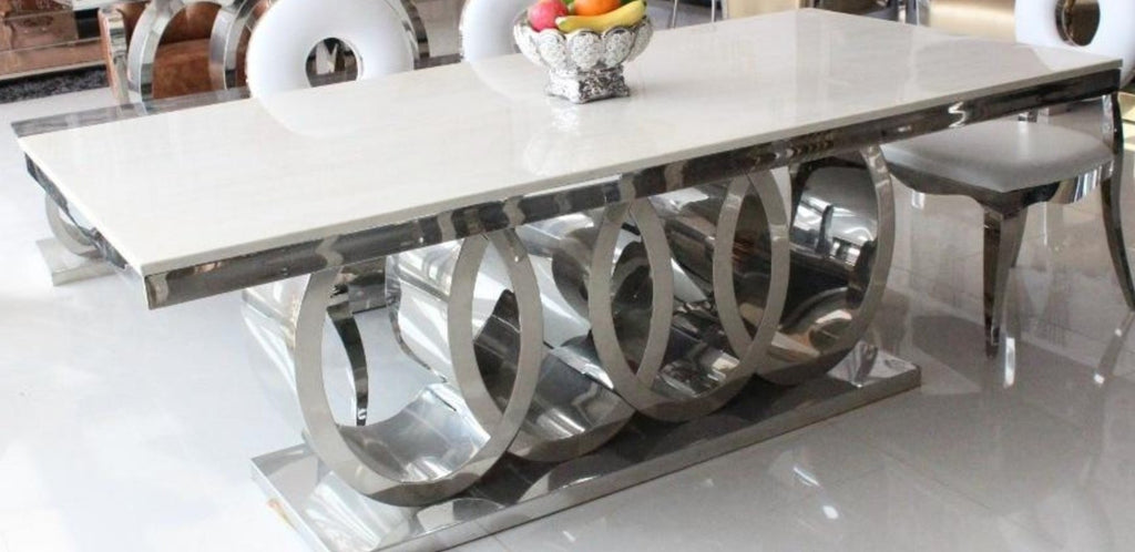 Modern Marble Top Dining Table With Round Back Chairs