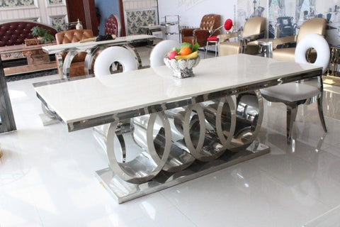 Modern Marble Top Dining Table With Round Back Chairs - My Aashis