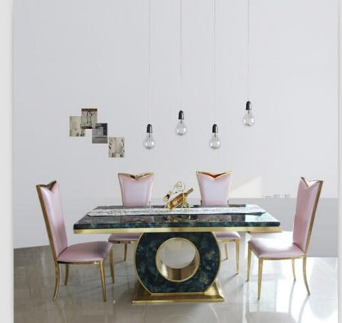 Marble Dining Table Set  Black & Rose Gold Color With 4 Chairs - My Aashis