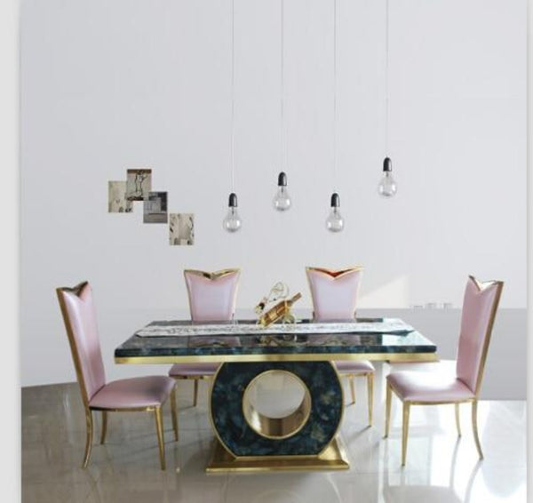 Marble Dining Table Set  Black & Rose Gold Color With 4 Chairs