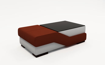 Contemporary White Leather And Dark Red Coffee Table w/Black Glass Table Top