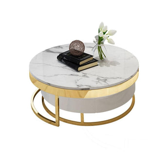 Fashionable Round Stainless Steel Marble Coffee Table - My Aashis
