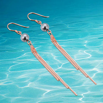 Stylish Rose Gold Elegant Hanging Earrings