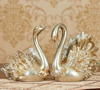 Antique Pair Swan Couple Statue For Decor - My Aashis