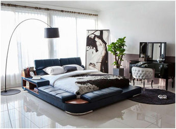 Modern Genuine Leather Bed Frame Furniture