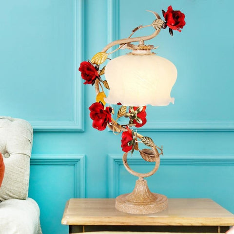 Night Lamp for Living Room Or Bedroom Red Roses Table Lamp, Rattan White Iron