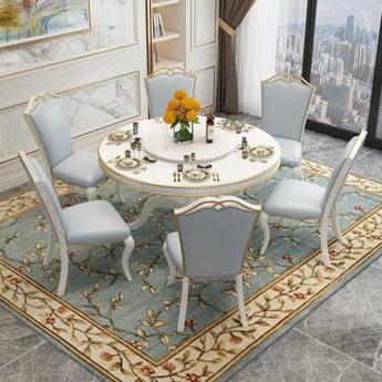 European-Style Luxury Solid Wood round Dining Table with Chairs  - My Aashis