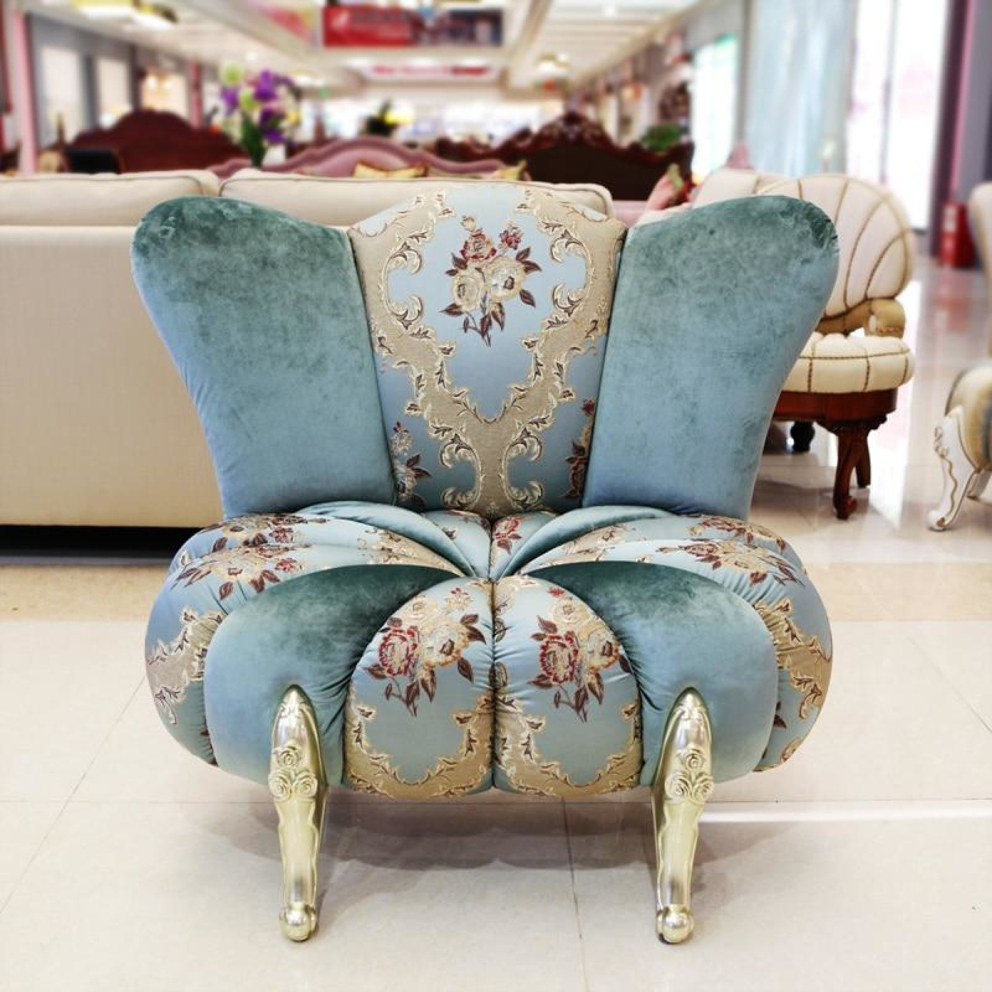 Wing chair, quilted toile fabric. Crisp.   Wing chair