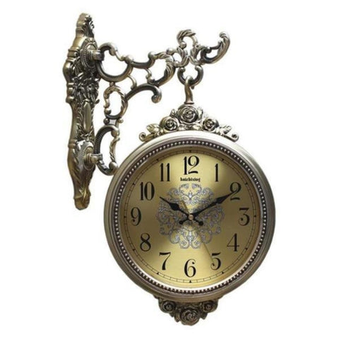 Antique Design Ultra Mute Quartz European Double Sides Clock Non-ticking - My Aashis