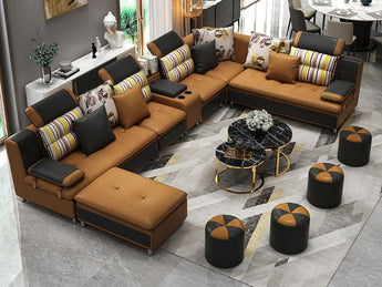 Modern Day Sectional Leather Sofa With Music Player Bluetooth USB