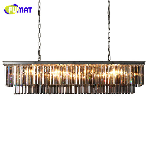 FUMAT American Rectangle Crystal Chandeliers Loft European Luxury Living Room Lightings Modern Brief LED K9 Crystal Chandelier - My Aashis