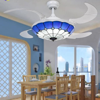 Dimmable Nickel Finish Fan Chandelier - My Aashis