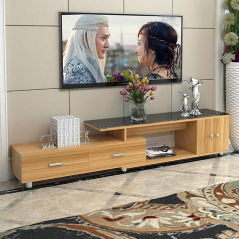 Modern Wooden Panel TV Stand With Cabinet  Assembly - My Aashis