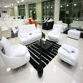 Luxury Rich White 1+2+3 Seater Sectional Sofa With Ottoman - My Aashis