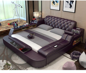 Leather Bed Frame With Massager and Speaker - My Aashis