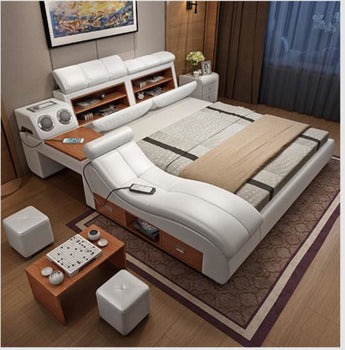 Soft Leather Bed Frame With Massager And Storage - My Aashis