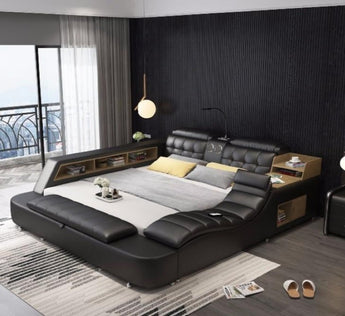 Leather Comfort Bed For Home Furniture - My Aashis