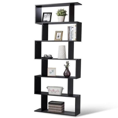 Contemporary 6 Layer S-Shaped Bookshelf - My Aashis