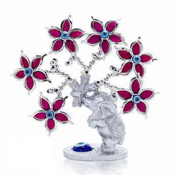 Turkish Elephant Evil Eye Flower Tree Figurine - My Aashis