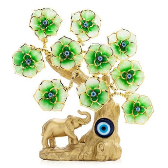 Golden Elephant Green Flower Evil Eye Tree - My Aashis
