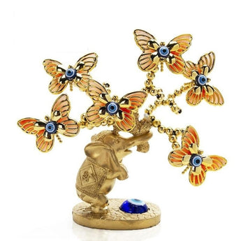 Lucky Elephant With Butterfly Blue Evil Eye Tree Figurine - My Aashis