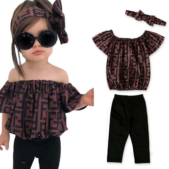 Kids Letter Print Off shoulder And Pant - My Aashis