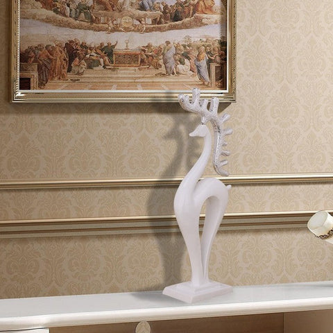 Resin sculpture white deer statue for TV desk decor - My Aashis