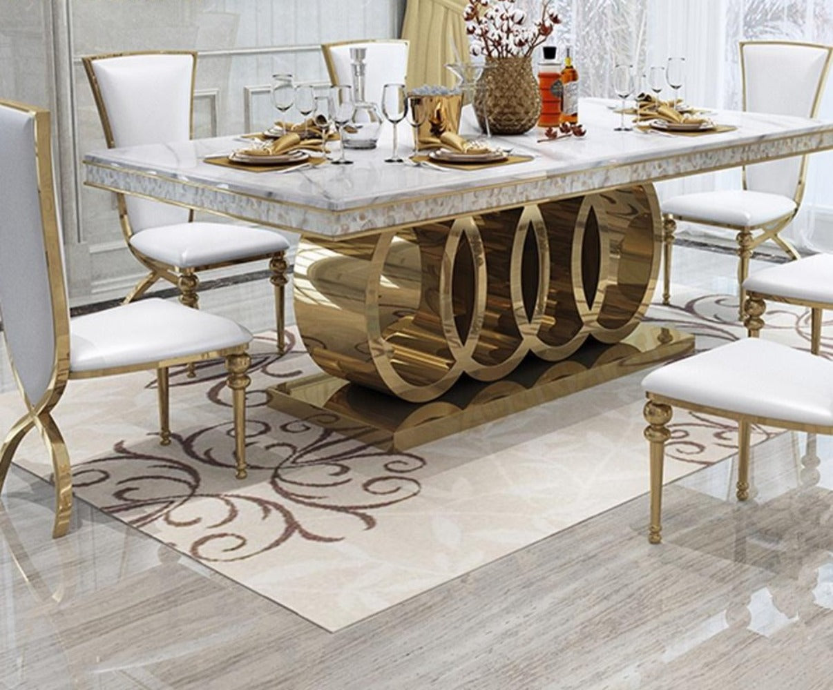 9 Pcs Elegant Designed Rectangular Marble Top Dining Table With 9 Chairs
