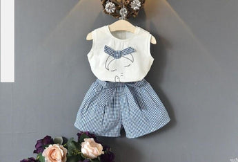 Sleeveless Shirt Plaid Skirt With Bowknot - My Aashis
