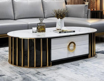 Exclusive Designed Stainless Steel Marble Top Coffee Table - My Aashis