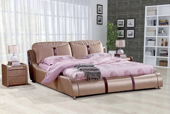 Leather Royal King Size  Soft Bed - My Aashis
