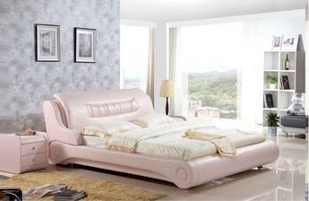 Leather Shine Soft Bed For Home Furniture - My Aashis