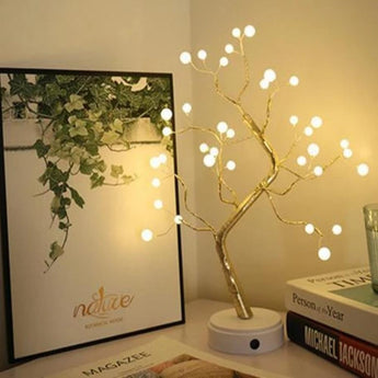 Fluorescent Warm White LED Copper Wire Tree Shape Table Lamp - My Aashis