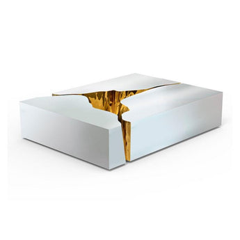 Rich Look White Golden Broken Design Coffee Table - My Aashis
