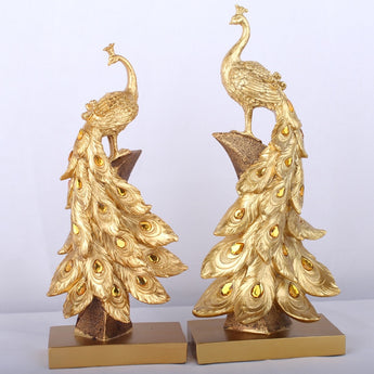 Household Resin Peacock Ornaments Golden Peacock Miniature Figurines Resin Desktop Crafts Home Decor Accessories Business Gifts - My Aashis