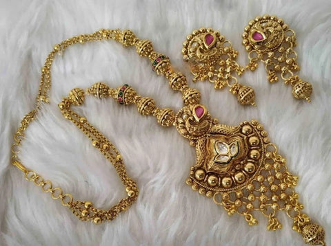 Trendy Exclusive Designed Gold Plated Necklace Set - My Aashis