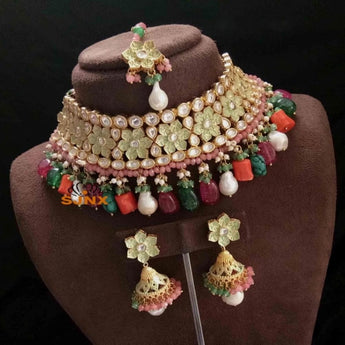 Latest Meenkari Style Kundan Necklace Set - My Aashis