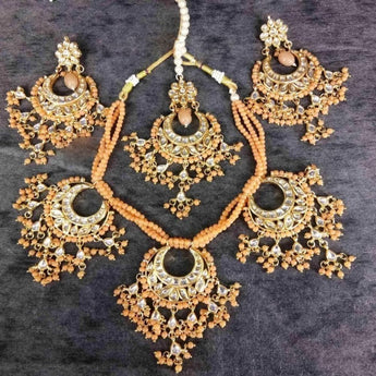 Classic Design Orange Shine Luxury Necklace Set - My Aashis