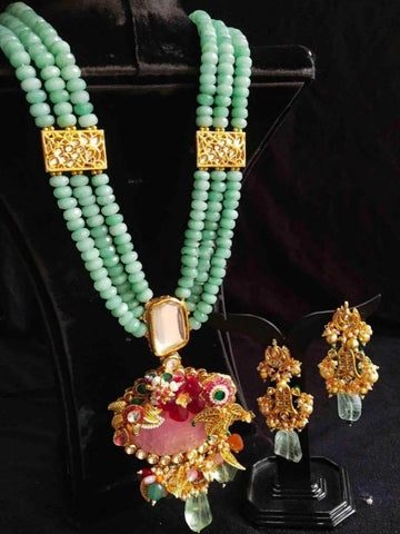 Dazzling Pearl Layered Hanging Necklace Set - My Aashis