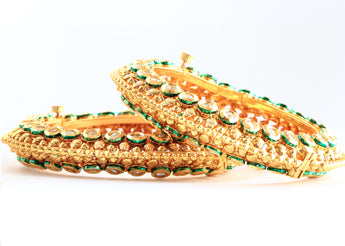 Ethnic Openable Gold Tone Bangles and Bracelet Made With White Polki