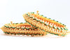 Ethnic Openable Gold Tone Bangles and Bracelet Made With White Polki - My Aashis